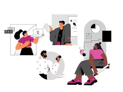 Teamwork | Animation | Collaboration With Maryia Nestsiarovich motion 2d cute illustration character dribbble team aftereffects gif animation