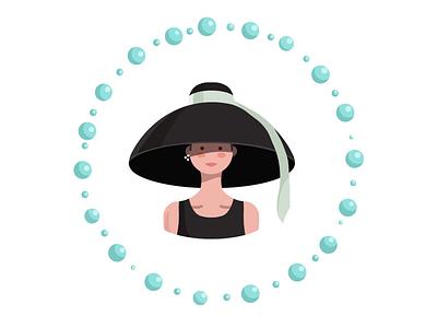 "Audrey Hepburn in ""Breakfast at Tiffany's"" 1961 character design hat colors art fashion style woman digitalart pearl hepburn audrey illustration character"