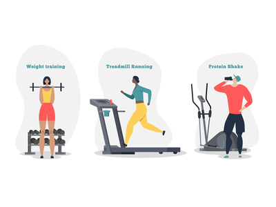 Healthy lifestyle activities character dribbble running treadmill sport adobeillustration design vector illustration