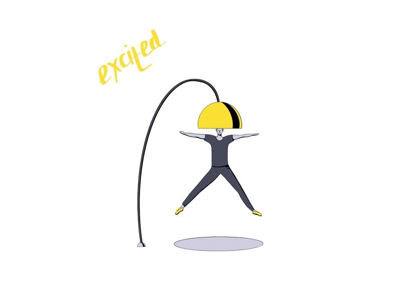 Excited inktober inktober2019 ui characterdesign digitalart procreate cute colorful 2d character flat dribbble illustration