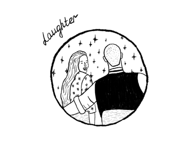 Laughter minimal simple cute couple laughter inktober sketch illustration