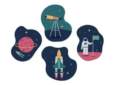 Space - illustrations for animation cosmos astronaut planet simple vector design spaceship space colorful 2d flat dribbble illustration