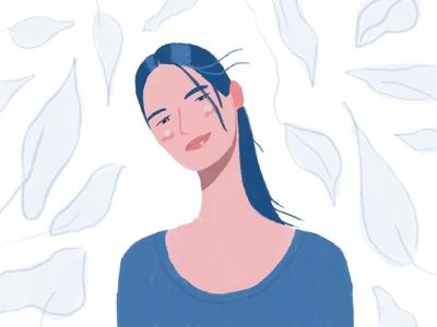 Quick self portrait pantone2020 blue portrait simple characterdesign procreate cute colorful character 2d flat dribbble illustration