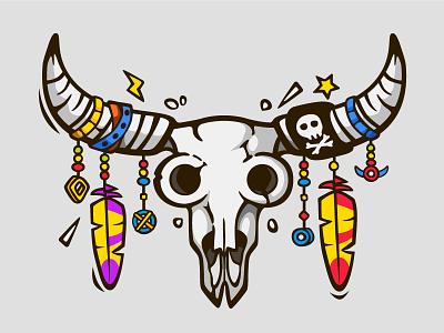 Bull skull tribal whether cartoon print freedom hippie boho american skull cow bull