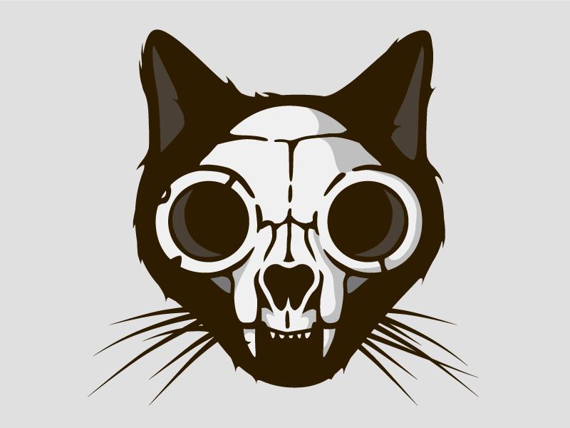 Kitty cat death animal print haloween scary skeleton skull dead cat kitty