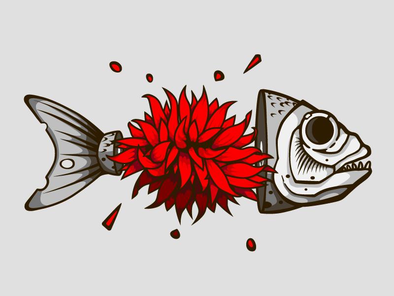 Fish vector print skeleton blood bloom flower death dead fish