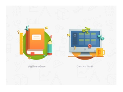 Math math book icon screen software pencil knowledge flat illustration indestudio cup monitor