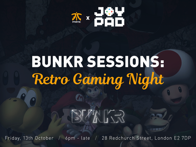 Bunkr Sessions event promotion esport social media gaming night retro promotion design bunkr