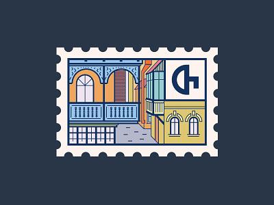 Tbilisi Postmark postmark tbilisi city old logo house georgia