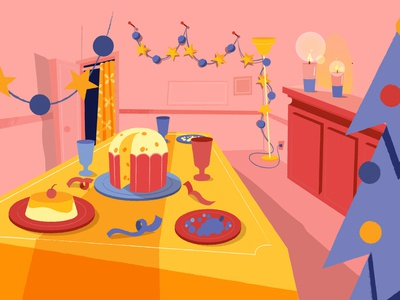 Animation Background illustration vector 2d bg animation background lights candles xmas