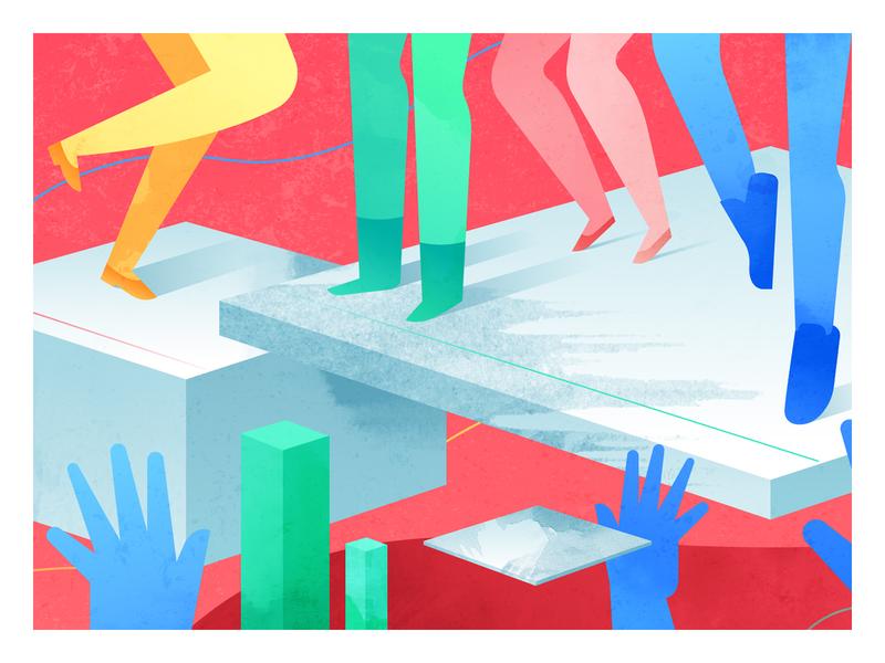 Partner Plex 2d character motion design cube google geometric vector character illustration 2d
