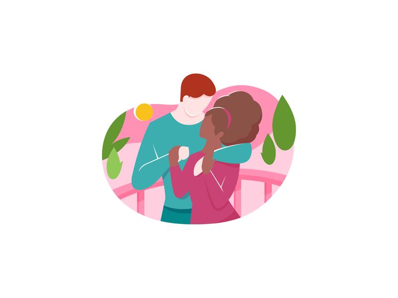 Casar.com 2d character vector character park illustration 2d couple