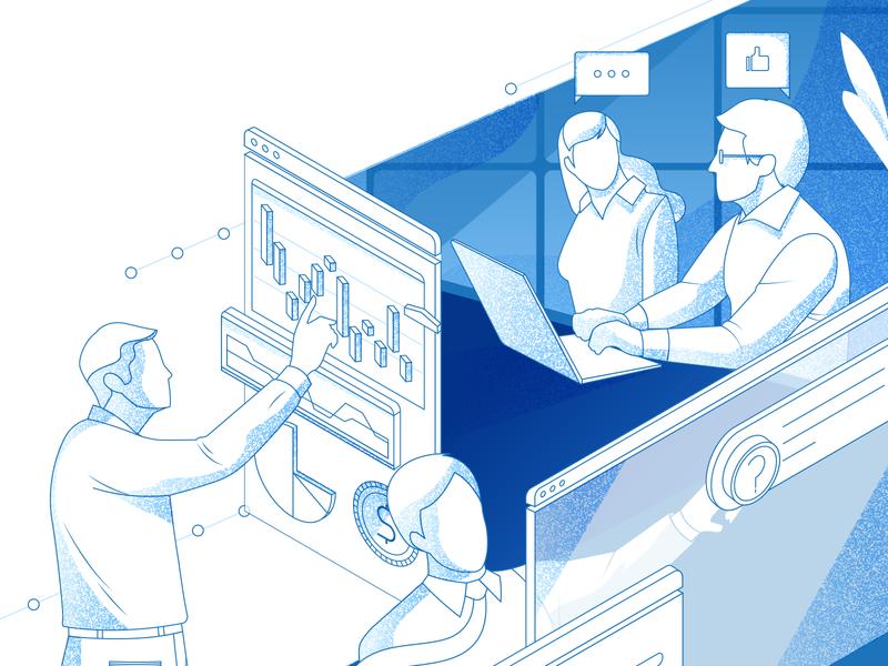 Grid Layout #2 work networking network socialmedia api technology illustration