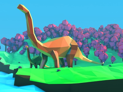 Lowpoly Dinosaur no mans sky sky mans no fossil old pre historic dinosaur cinema4d low poly lowpoly