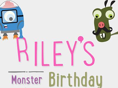 Riley's Birthday Party birthday invitation card design print design illustration cartoons animation monsters