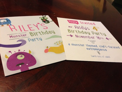 Riley's Birthday Invite illustration invitation cartoons monsters colorful design graphic design printed card