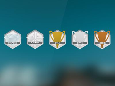 Sponsor Level Icons icons icon levels trophy sponsors star diamond hexagon illustrator