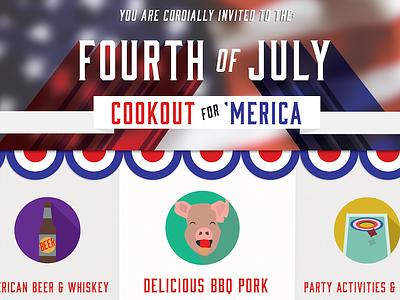 Fourth Invite Dribble bbq pig fourth of july merica america design illustration