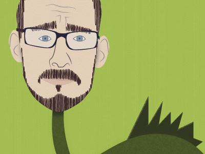 Me illustration self portrait dinosaur messing around