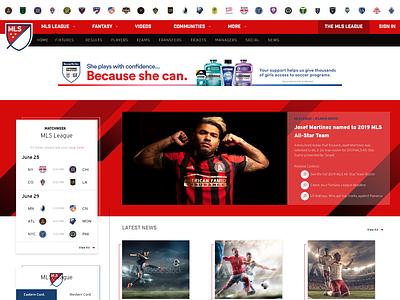 MLS (Major League Soccer) Redesign Concept website adobe xd ui  ux web design sports soccer