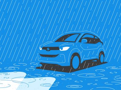Car in storm rainy rain storm car geometry simple blue illustration