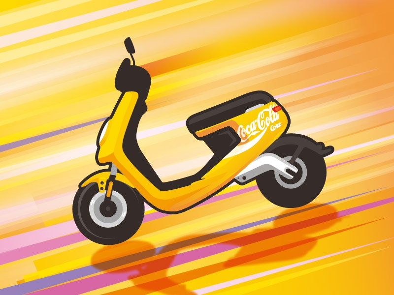 NIU M1 electric niu coca cola motocycle scooter illustration limited edition yellow