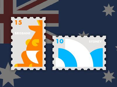 Travel of Stamp—Australia travel stamp blue orange brisbane sydney geometry kangaroo oprea house australia simple illustration