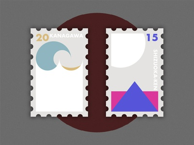 Travel of Stamp—Japan wave sea travel stamp white geometry fuji shizuoka-ken kanagawa japan simple illustration