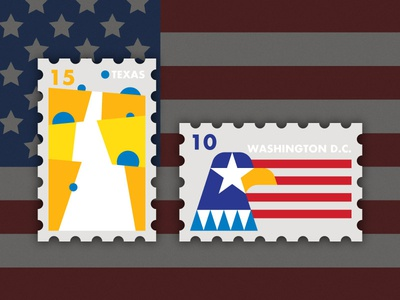 Travel of Stamp—American yellow flag eagle usa americana washington texas country road country geometry travel stamp simple illustration