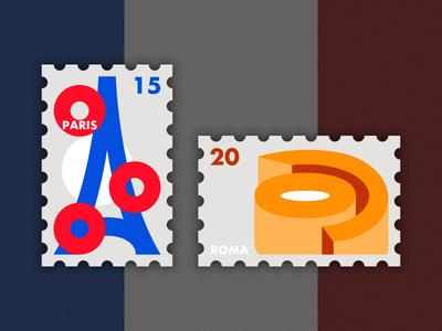 Travel of Stamp—France colosseum paris roma orange design blue geometry travel stamp simple illustration