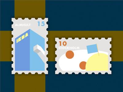 Travel of Stamp—Sweden meatballs meatball stockholm almhult sweden ikea yellow design blue geometry travel stamp simple illustration