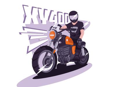 My first motorcycle character flat motorbike boy purple helmet orange rider lightning flash motorcycle illustration