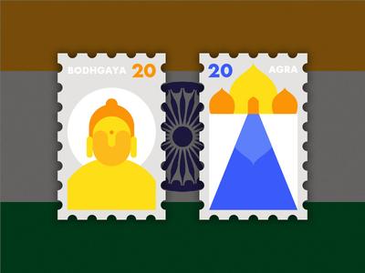 Travel of Stamp—India buddha buddhism india agra bodhgaya design yellow blue geometry travel stamp simple illustration