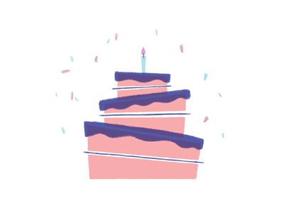 Birthday Cake dessert cake texture illustration candle confetti pink celebrate birthday cake birthday