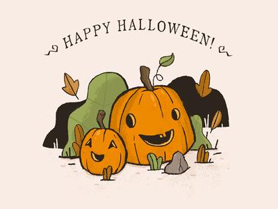 Happy Halloween texture spooky halloween orange handdrawn leaves illustration pumpkin