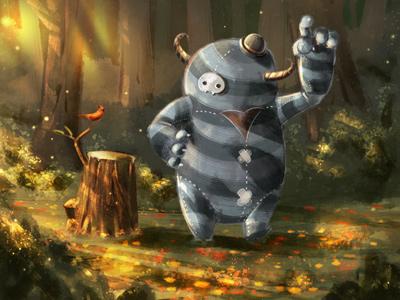 Monster And Buddy shot illustration childrens book