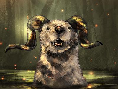 Horned Swamp Otter! scott ferguson animal illustration