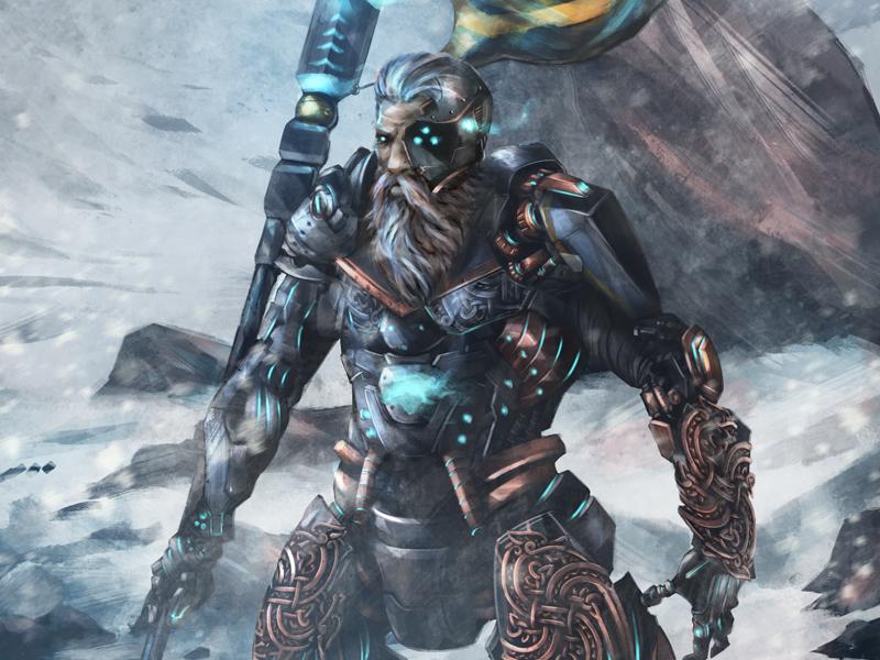 IT'S A VYBORG (or a viking cyborg...) rugged viking norse armor digital painting scott ferguson