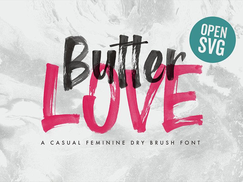 Butter Love - Opentype SVG Lettering Dry Brush Font by Konstantine