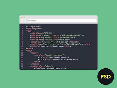 Browser Source Code PSD psd browser source code flat download freebie safari icon ui