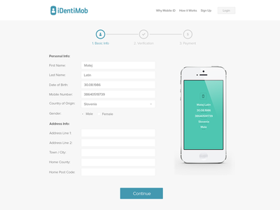 Identimob Registration registration form steps iphone id identification identity ux ui sign up