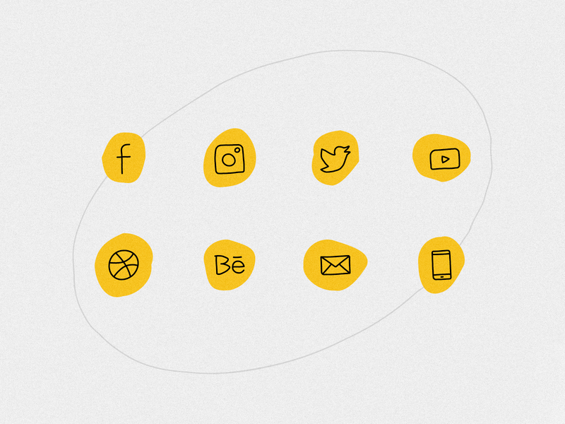 Hand drawn social icons (FREE)
