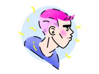 Pink hair boy