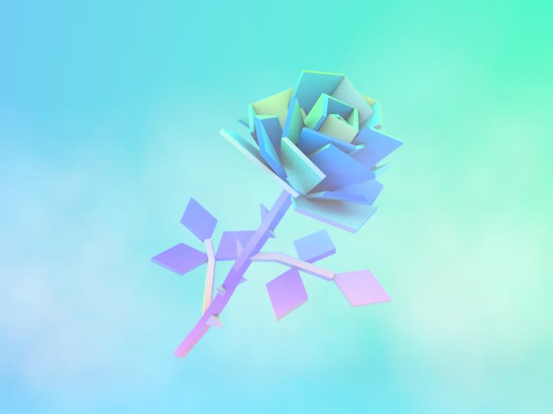LoPoly Rose #2 motion design render rose modelling design low polygon lowpoly 3d illustration
