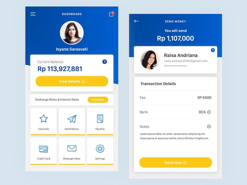 Mandiri Mobile Banking redesign material ios send money credit card transaction financial finance money bank mobile banking banking