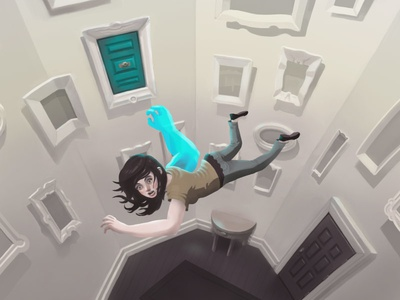 Ghostarm ghostarm falling doors illustration digital