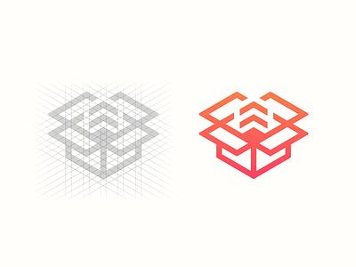 Unpackage identity process abstract grid mobile app extract design illustration clean branding mark modern brand golden ratio logo