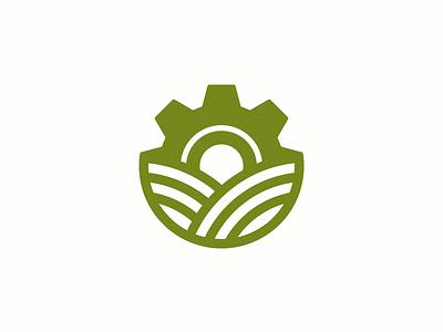 Factory Farm Logo organic gear farmer factory process abstract grid clean branding mark modern brand golden ratio logo