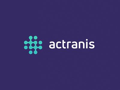 Actranis technology biopharma tech process abstract grid clean branding mark modern brand golden ratio logo