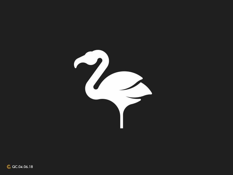 Flamingo Logo abstract simple identity brand logo golden ratio flamingo